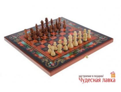 """Набор игр """"3 в 1"""": шахматы, нарды, шашки """"Цветы расписные"""""""