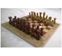 Шахматы из натурального камня (оникс и яшма)