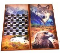 """Нарды деревянные """"Волк vs Орел"""" (большие)"""