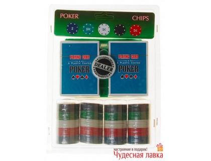 Набор для покера 100 фишек с номиналом в блистере, 2 колоды карт, сукно