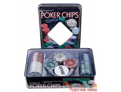 Покерный набор 100 фишек с номиналом, 4 гр