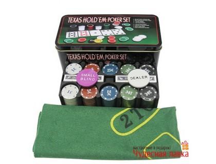 Покерный набор 200 фишек с номиналом, 4 гр, 2 колоды карт, сукно