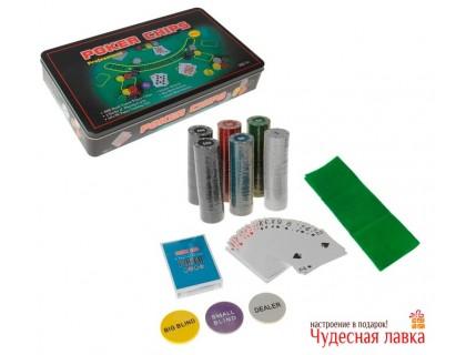 Покерный набор 300 фишек с номиналом, 4 гр  (карты, сукно)