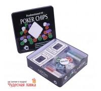 Набор для покера 100 фишек с номиналом с 2 колодами в коробке