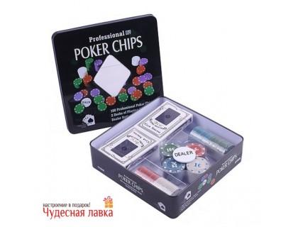 Покерный набор 100 фишек с номиналом, 4 гр, 2 колоды карт