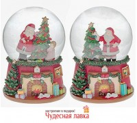 """Шар со снегом музыкальный """"Санта с елкой"""" 100мм"""