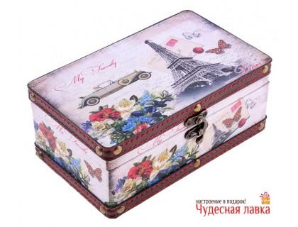 """Шкатулка деревянная """"Из Франции с любовью"""""""