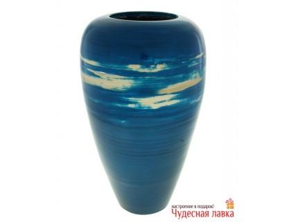 Ваза из бамбука синяя