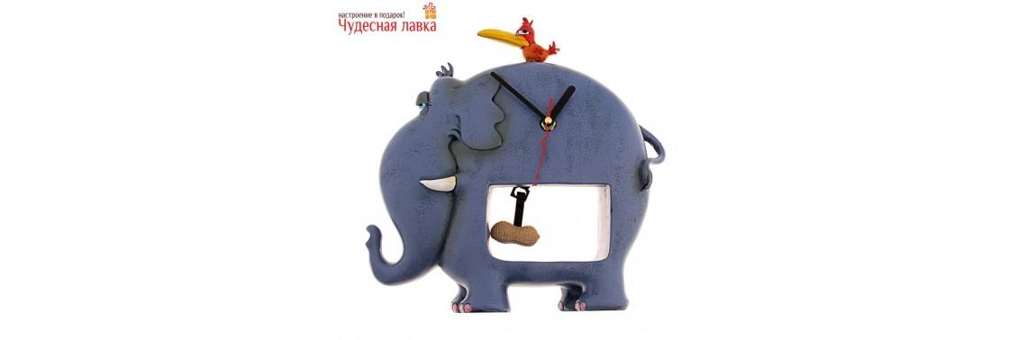 """Часы интерьерные """"Слон и птаха"""""""