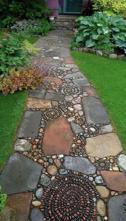 Дорожка с мозаикой из камня своими руками