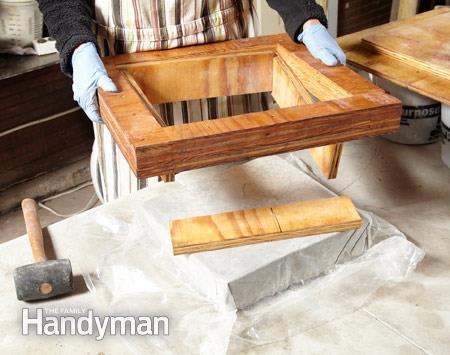 Сухой метод изготовления бетонной плитки с мозаикой