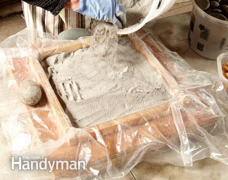 Сухой метод изготовления мозаичной плитки для дорожки