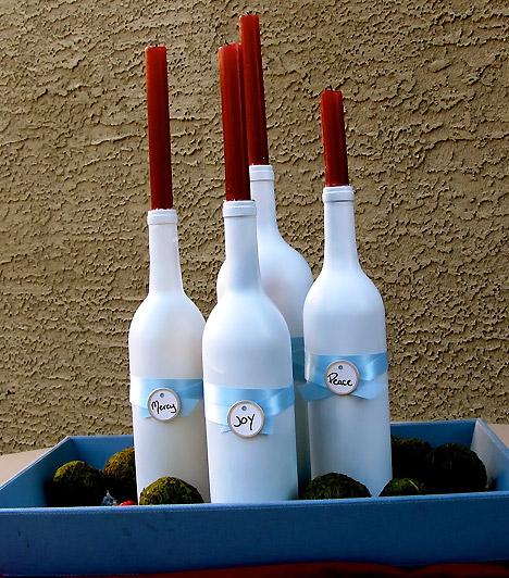 Свечи в бутылках. Украшение к новому году своими руками